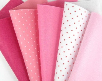 5 Colors Felt Set - Pink Mix - 20cm x 20cm per sheet