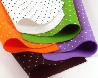 5 Colors Felt Set - Halloween Polka Dots - 20cm x 20cm per sheet