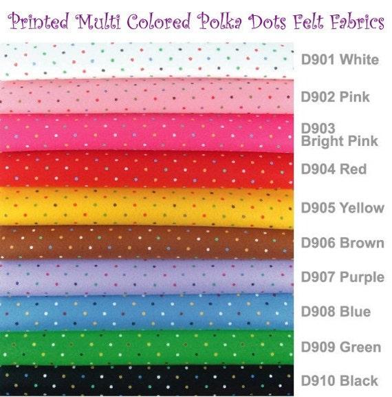 5 printed multi colored polka dots felt sheets 20cm x 20cm for Polka dot felt fabric