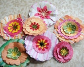 Paper FLowers In Pinks and Salmons Greens  to embellish your project set of 7