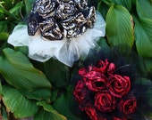 Wedding Bouquet in Ivory  and black lace,Maid of Honor red and black lace Goth Halloween Ready to ship
