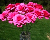 Paper Roses On stems  You Pick the colors  qty 20 for weddings showers home decor