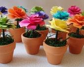 Paper Flower  in Pot  CUSTOM ORDER for  Luncheon Wedding Favor  Bridal shower  Escort or name cards  set of 18