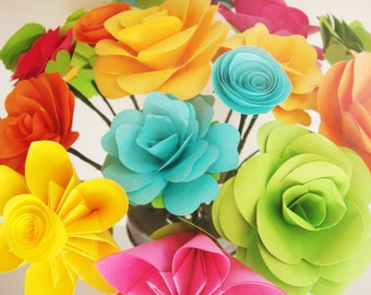 Paper Flowers Assorted Make your own Bouquet 20 Qty Any Color