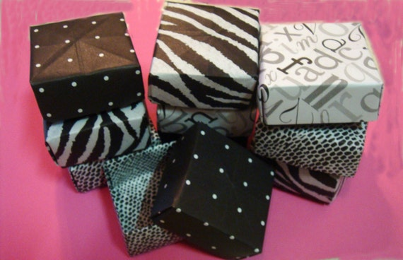 Origami Paper Folded  Jewelry  Boxes  2 x 2   Set of 10