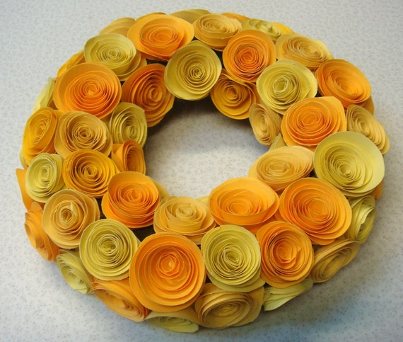 Yellow Hues Rolled Roses Wreath Candle Holder 7 inches around