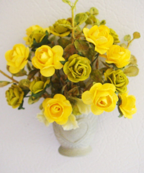 Floral Refrigerator Magnet mulberry paper roses GREAT GIFT Mothers Day green and Yellow