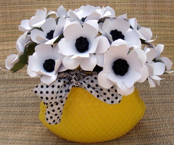 Paper Flower arrangement  in yellow ceramic purse with White Anemones  Flowers Gift Housewarming Anniversary
