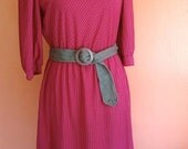 DRESS DEAL- Vintage  silver pinstripe / sangria  Secretary dress