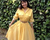 Sunshine  yellow  white pinstripe day dress