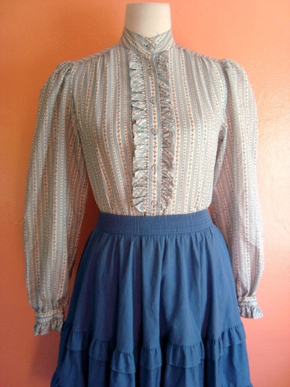 Light blue  and white prairie  blouse