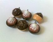 6 Cupcake Charms - Chocolate (Enamel, Metal)