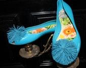Peep-toe Turquoise shoes,LAST Sale ballet flats size 7,5US