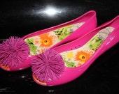 Hot pink Peep-toe ballet flats ,Last  Sale size 7,5