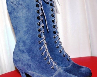 Victorian Boots lace up High Heels, Navy Blue suede Leather Order your customized size