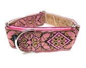 """Houndstown 1.5"""" Pink Wysteria VELVET Lined Martingale Collar Size Small, Medium, or Large"""