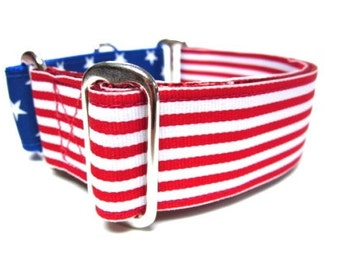 "Houndstown 1.5"" Stars and Stripes Unlined Martingale Collar Size Small, Medium,or Large"
