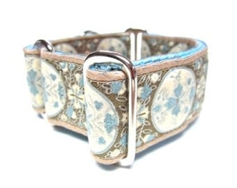 """Houndstown 1.5"""" Sand Medallion Unlined Martingale Collar Size Small, Medium, or Large"""