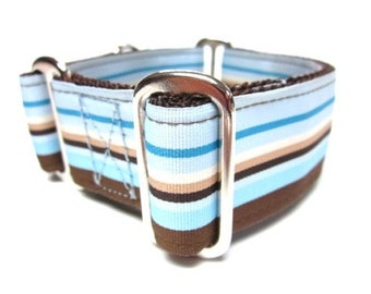 """Houndstown 1.5"""" Sand and Sea Unlined Martingale Collar Size Small Medium or Large"""