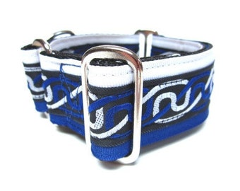 "Houndstown 1.5"" Blue Celtic Braid VELVET Lined Martingale Collar Size Small, Medium, or Large"