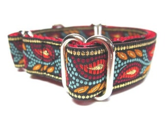 """Houndstown 3/4"""" Ruby Feather Unlined Martingale Collar Size X-Small (6""""-10""""), Small (10""""-14""""), or Medium (14""""-18"""")"""