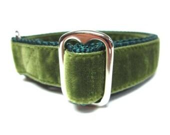 "Houndstown 1"" Moss Green Velvet Tag Collar, Adjustable"