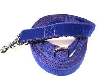 "6' Houndstown Violet Swiss Velvet Leash, Adjustable Handle, Lobster Claw Clasp, 1"" Width"
