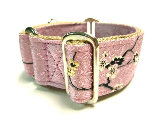 """Houndstown 1.5"""" Pink Geisha Maze Martingale Collar Size Small, Medium, or Large"""