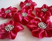 Handmade Fushia Ribbon Flower Appliques Embellishments(6pcs)