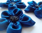 Royal Blue Flowers Handmade Appliques Embellishments(3 pcs)