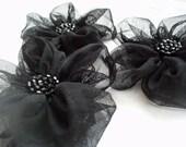 Black Flowers Handmade Appliques Embellishments(3 pcs)
