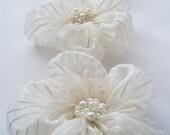 Ivory Chiffon with Stripe Flowers Handmade Appliques Embellishments(3 pcs)