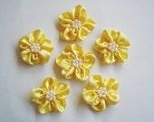 Handmade Yellow Medium Ribbon Flower Appliques Embellishments (6pcs)