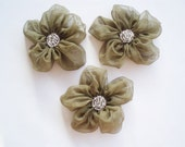 Olive Green Flower Appliques Embellishments(3 pcs)