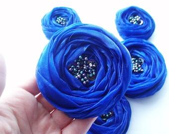 Royal Blue Roses Handmade Appliques Embellishment 5 pcs