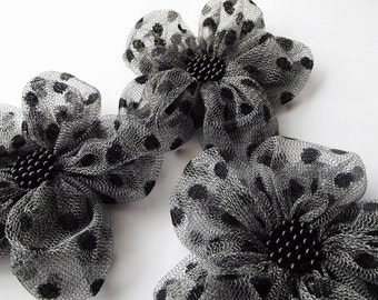 Grey Tulle with Black Dots Flowers Handmade Appliques Embellishments(3 pcs)