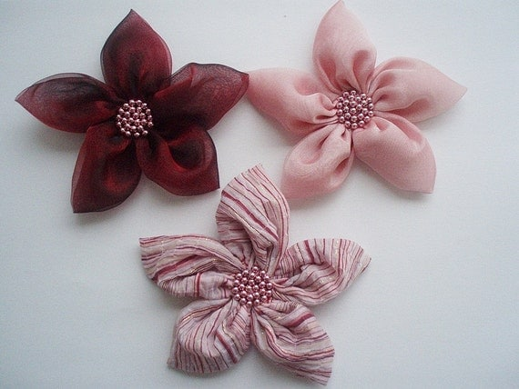 Pink Burgundy and Striped  Flowers Handmade Appliques Embellishments(3 pcs)