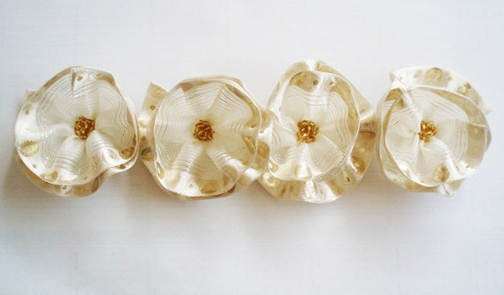 White-Ivory-Golden Flowers Handmade Appliques Embellishments(4 pcs)