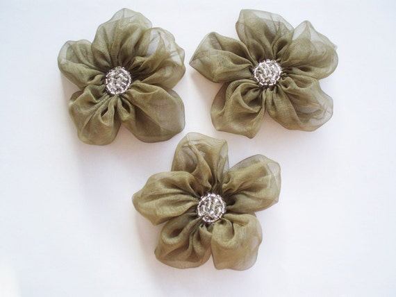 Olive Green Flower Appliques Embellishments(3 pcs)