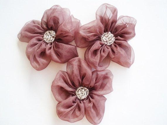 Eggplant  Flower Appliques Embellishments(3 pcs)
