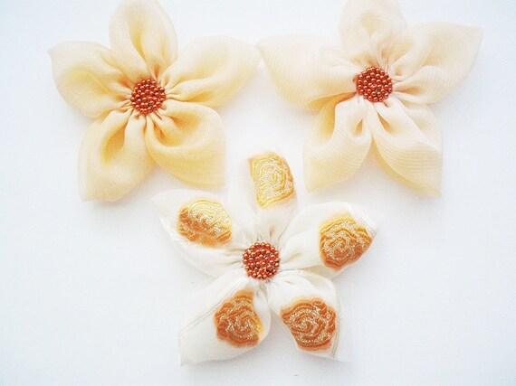 Peach - White Chiffon Flowers Handmade Appliques Embellishments(3 pcs)