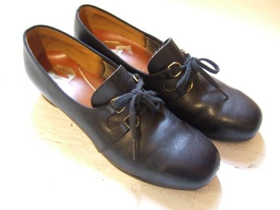 1940s black leather oxfords size 8