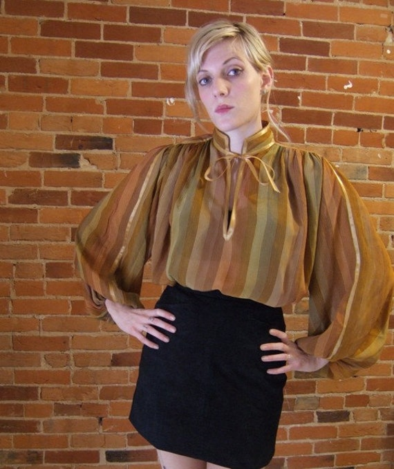 70s striped blouse with ribbon yoke