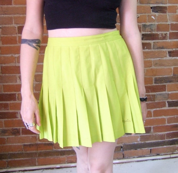acid green pleated skirt
