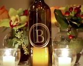 Single Letter Monogram Wine Bottle Lantern in Castellar- as seen in BRIDES Magazine (750ml)