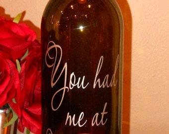 Wine Bottle Hurricane Lantern- You Had Me at Merlot