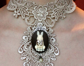 Ivory venice victorian lacer collar with huge white rabbit cameo pendant brooch gothic necklace