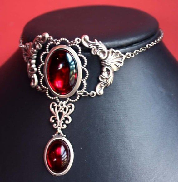Pink Ruby Jewellery: Steampunk Jewelry Bloody Ruby Red Gothic Necklace Filigree
