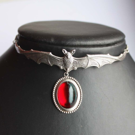 SALE PRICE Steampunk Jewelry Bloody Ruby Red  Gothic necklace filigree Bat choker