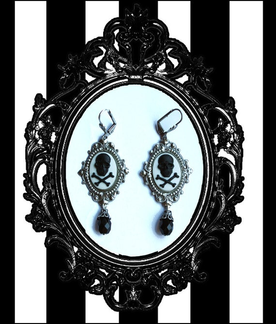 Gothic Pirate Skull cameo Victorian earrings
